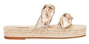 Loeffler Randall Women's Daisy Two Bow Leather Espadrille Platform Sandals