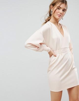 Asos Design Mini V Neck Dress with Elastic Cuff & Waist Detail-Pink