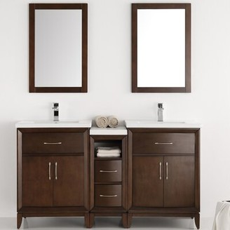 "Cambridge Silversmiths 60"" Double Bathroom Vanity Set with Mirror Fresca Base Finish: Antique Coffee"