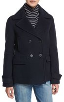 Vince Wool-Blend Pea Coat, Coastal Blue