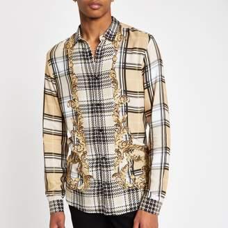 River Island Mens Jaded London Beige check baroque shirt