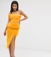 Asos DESIGN Tall minimal fold layer bandeau belted midi dress