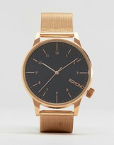 Komono Winston Royale Mesh Watch In Rose Gold/Black
