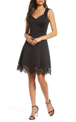 Donna Ricco Lace Trim Sweetheart Neck Fit & Flare Dress