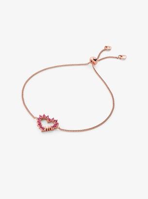 14K Rose Gold-Plated Sterling Silver Pave Heart Slider Bracelet