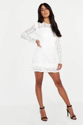 boohoo Lace Frill Detail Mini Dress
