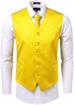ÊJD Apparel For Men 3 Pieces Tie Solid Formal Tuxedo Vest Tie 4XL