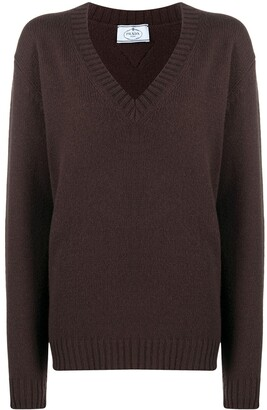 Prada V-neck knitted jumper