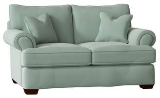 Feminine French Country Loveseat Feminine French Country Body Fabric: Bayou Spray, Nailhead Detail: Old Gold Spotted