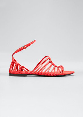 3.1 Phillip Lim Lily Leather Asymmetrical Cage Flat Sandals