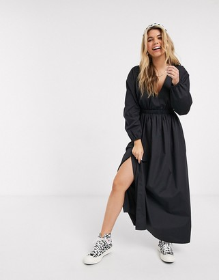 Asos DESIGN cotton poplin plunge wrap maxi dress with elasticated waist