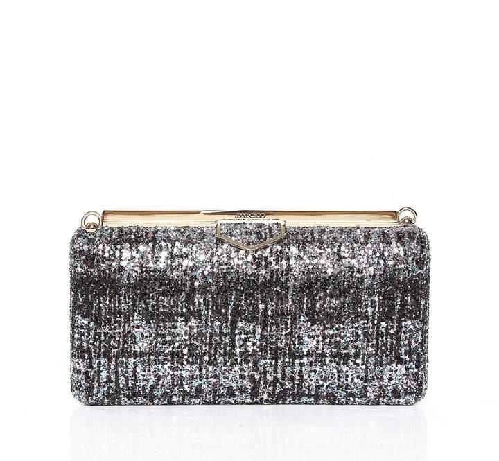 Jimmy Choo ELLIPSE Bubblegum Mix and Black Clutch Bag in Painted Coarse Glitter Fabric