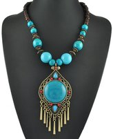 pendant-necklaces AmaranTeen - Teardrop Pendant With Tassels Bohemia Long Chain Necklace