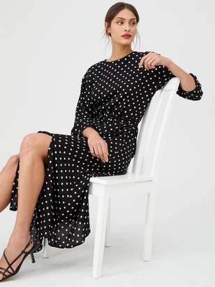 Warehouse Belted Spot Midi Dress - Black
