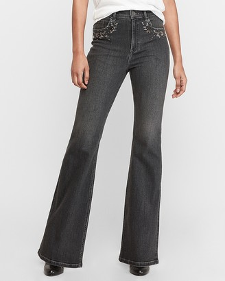 Express Super High Waisted Denim Perfect Black Embellished Slim Flare Jeans