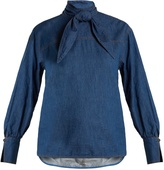 Muveil Tie-neck cotton-chambray top