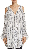 Aqua Ruffled Cold-Shoulder Vine Print Tunic - 100% Exclusive