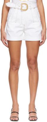 Balmain White Denim Belted Shorts