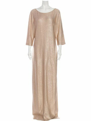 St. John Scoop Neck Long Dress Gold