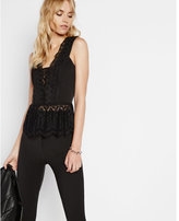 Express black lace up back peplum tank