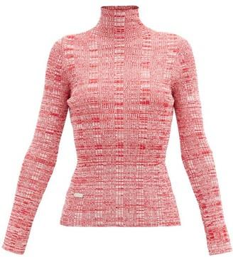 Ellery Rockies Melange Rib-knitted Roll-neck Top - Red White