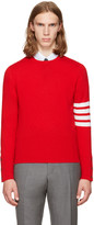 Thom Browne Red Classic Crewneck Pullover