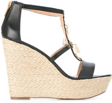 MICHAEL Michael Kors Suki wedge sandals - women - Leather/Metal (Other)/rubber/Raffia - 6