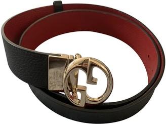 Gucci Interlocking Buckle Black Leather Belts
