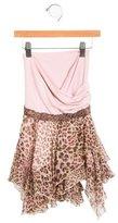 Miss Blumarine Girls' Leopard Print Asymmetrical Skirt