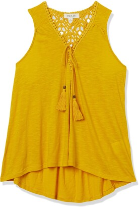 Taylor & Sage Women's Sleeveless Lace Up Crochet Back Tank