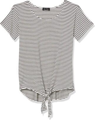 Star Vixen Women's Petite Dolman SLV Hi-Low Hem Tiefront Rayon/Spandex Knit Top