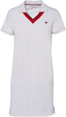 Tommy Hilfiger V-Neck Short Sleeve Polo Shirt Dress - White