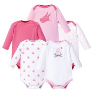 Hudson Baby Baby Girl Long Sleeve Bodysuit, 5-Pack