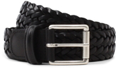 Andersons Anderson's Black Leather Woven Belt Black