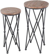 Privilege Round Wood & Metal Hairpin Plant Stand Set