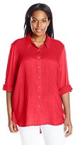 Calvin Klein Women's Plus-Size Linen Tunic with Knit Back
