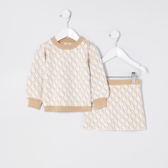 River Island Mini girls Cream knit monogram skirt outfit