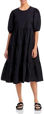 Aqua Tiered Poplin Midi Dress - 100% Exclusive