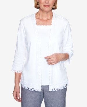 Alfred Dunner Plus Size Lace Trim 3/4 Sleeve Two-for-One Knit Top
