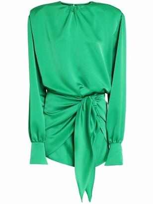 ATTICO Double Satin Mini Dress W/ Front Knot