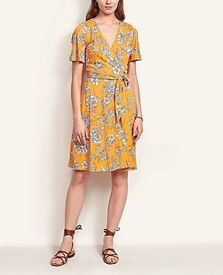 Ann Taylor Tropical Toile Flutter Sleeve Wrap Dress