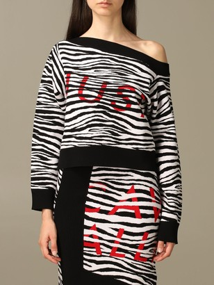 Just Cavalli Sweater Striped Cropped Pullover With Logo