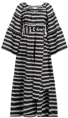 Lisa Marie Fernandez Peasant Striped Satin Dress - Womens - Black White
