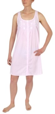 Miss Elaine Striped Cotton Sleeveless Nightgown