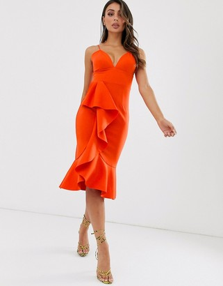 Laced In Love cami scuba dress with frill detail in orange