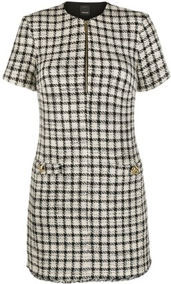Pinko Check Print Tweed Mini Dress