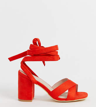 Park Lane wide fit tie leg block heeled sandals-Red
