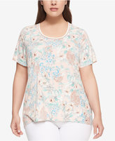 Tommy Hilfiger Plus Size Floral-Print Scoop-Neck Top