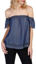 Paige Women's Beatrice Chambray Off The Shoulder Top
