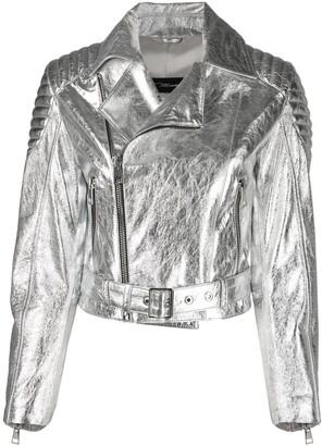 Manokhi Metallic-Effect Leather Biker Jacket